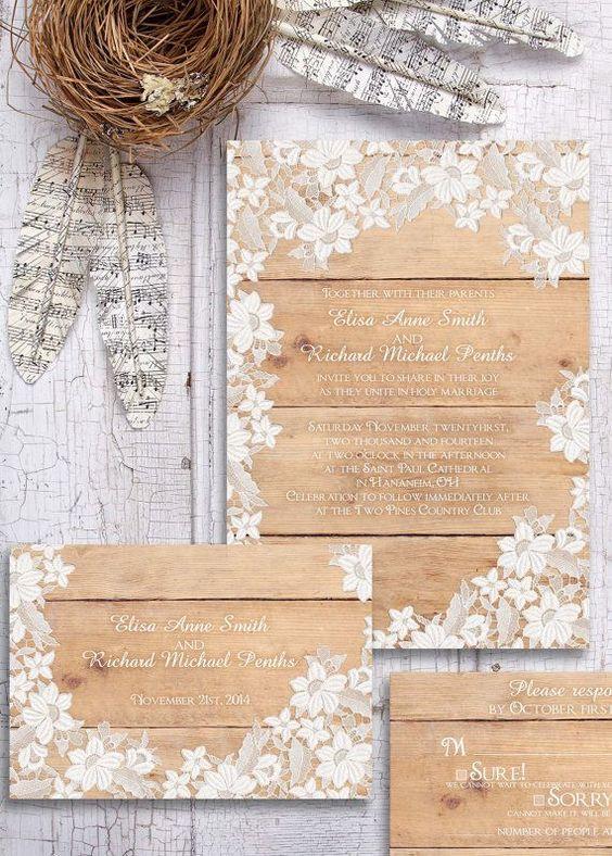 partecipazione di nozze in legno