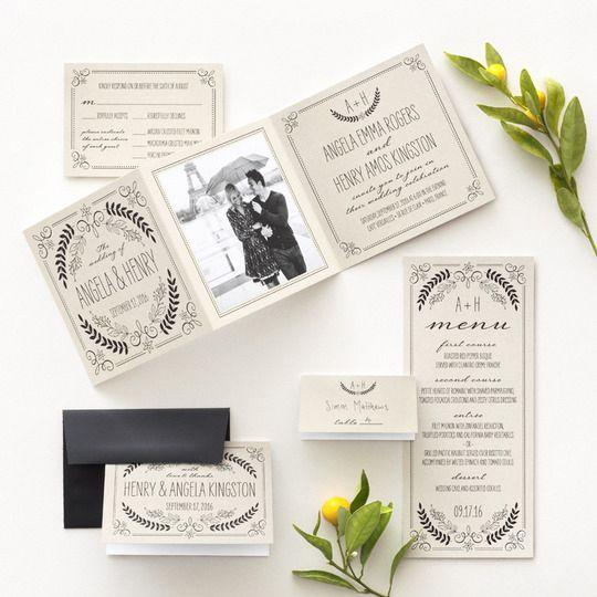 Invito di matrimonio vintage con foto degli sposi