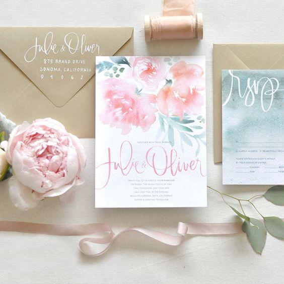 partecipazione di nozze con fiori acquarellati