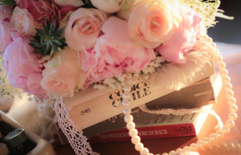 composizioni floreali matrimonio con rose, peonie e ortensie rosa