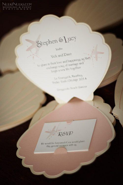 partecipazione di nozze a forma di conchiglia