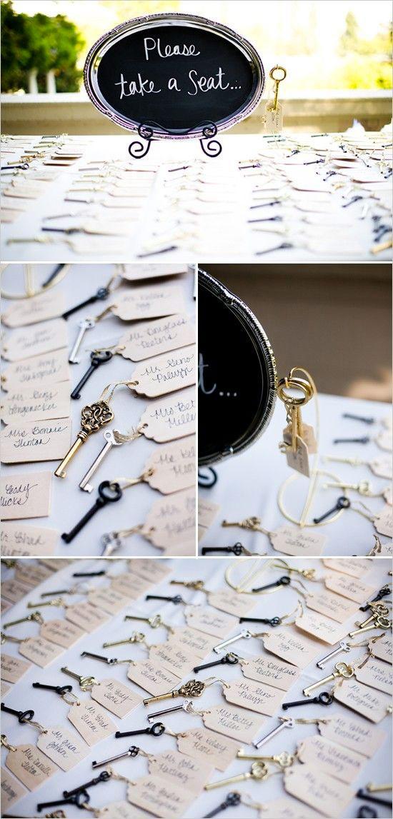 tableau mariage originale vintage con le chiavi