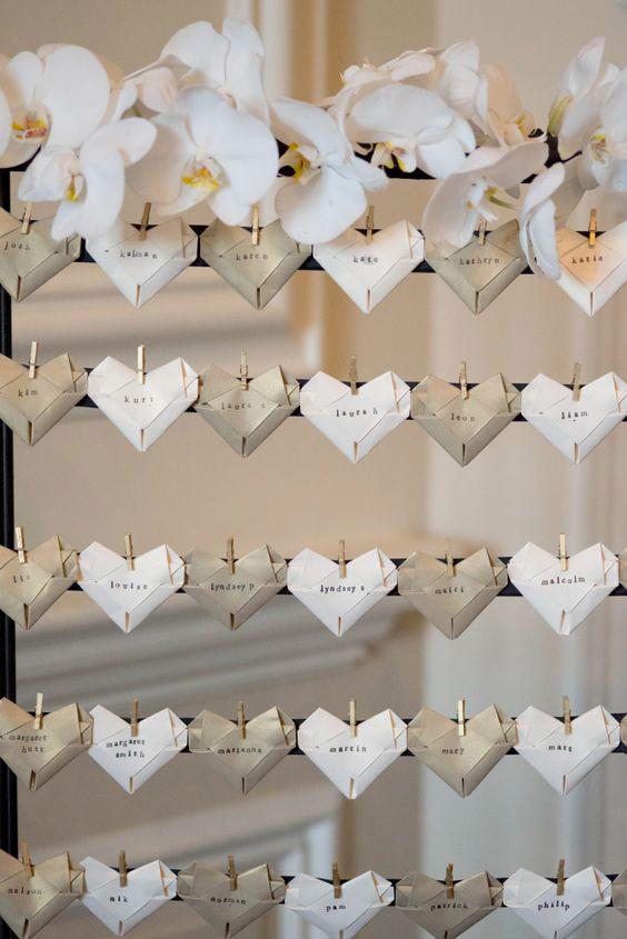 tableau mariage originale low cost con cartellini origami