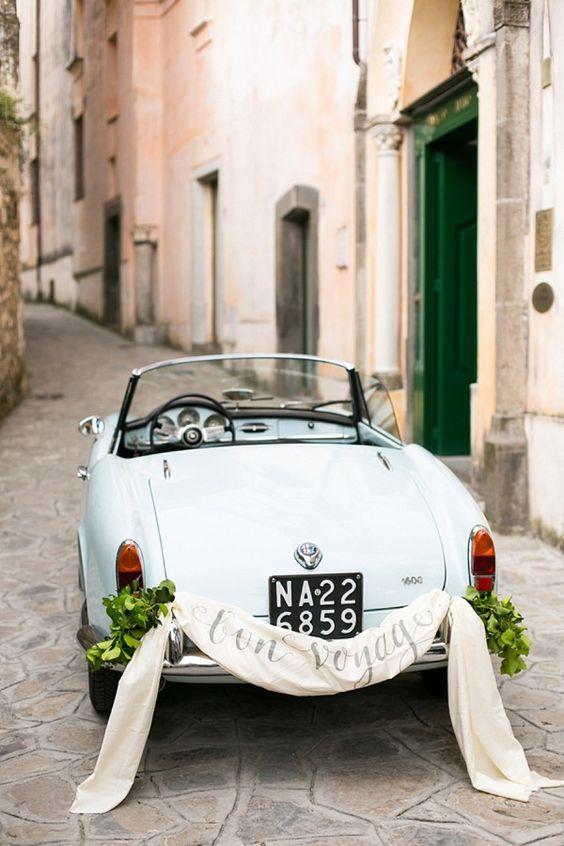 addobbare l'auto sposi con la stoffa