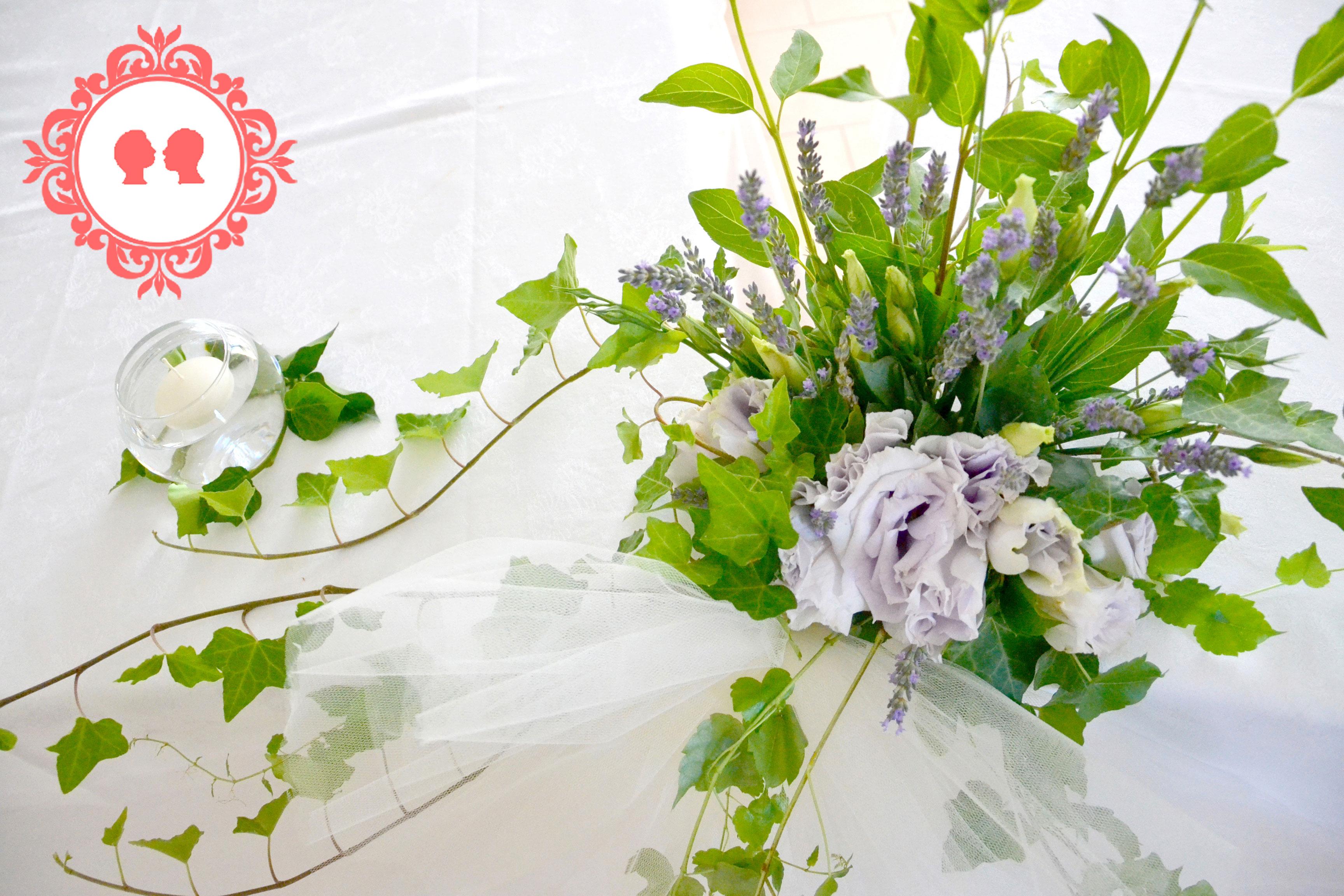 centrotavola con lavanda e edera ricevimento matrimonio solidale a Bologna in Comunità