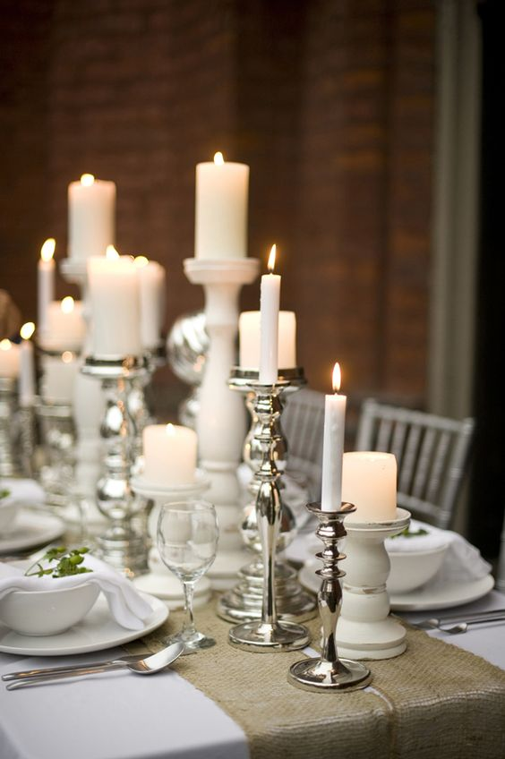 Candele e portacandele Ikea per la tavola degli ospiti e degli sposi