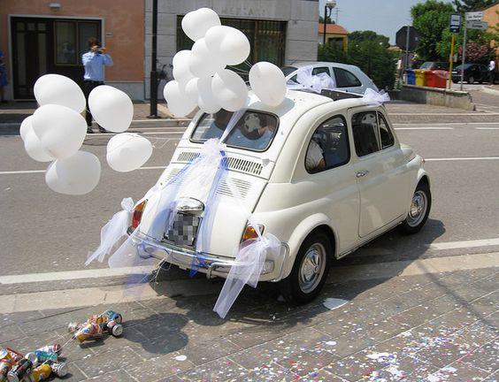 decorazione non floreale auto sposi