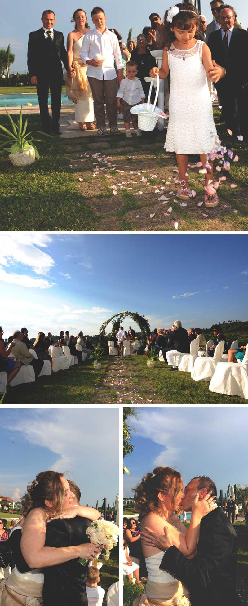 matrimonio in stile americano con cerimonia all'aperto in agriturismo