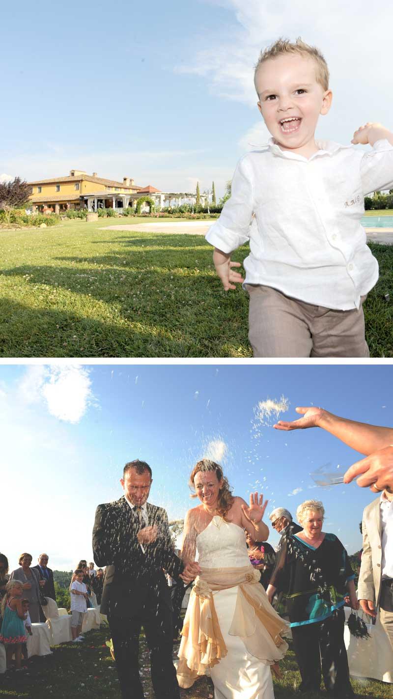 lancio del riso matrimonio in stile americano con cerimonia all'aperto