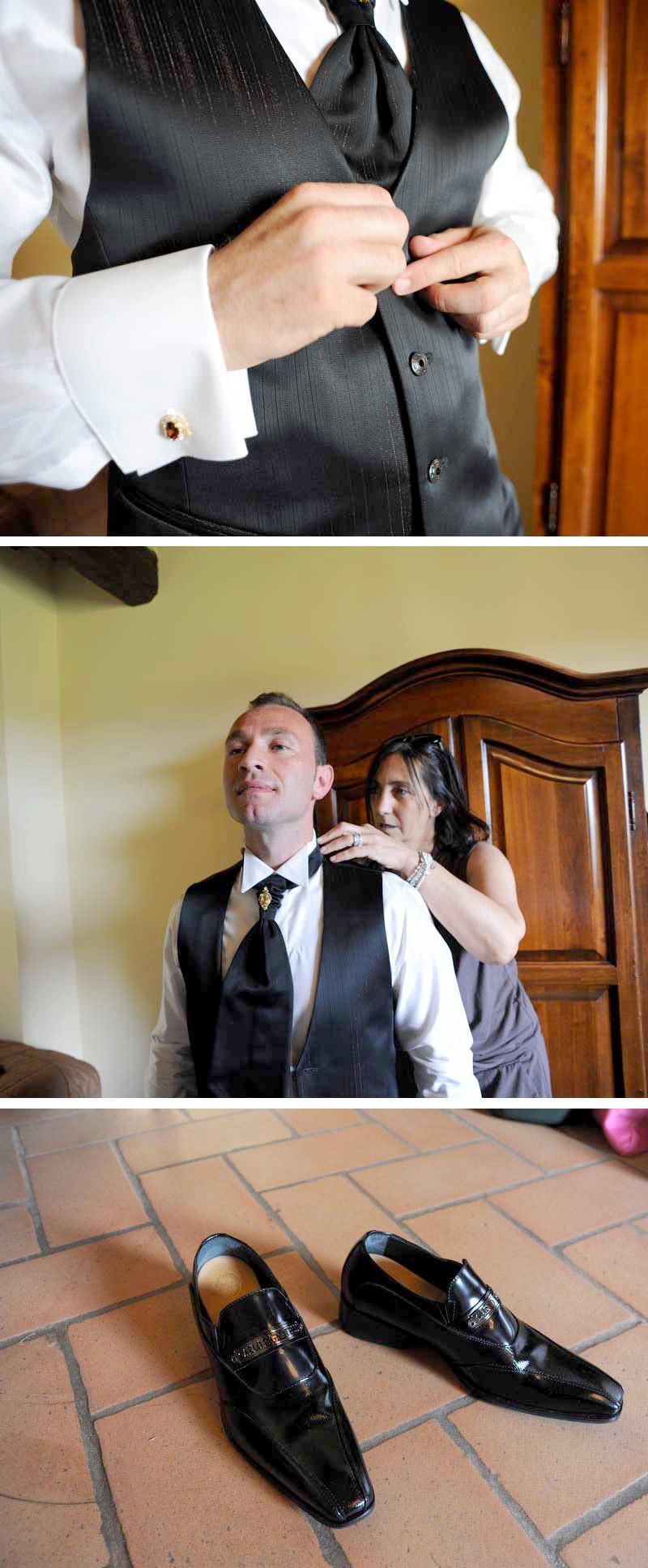 vestizione sposo matrimonio in stile americano