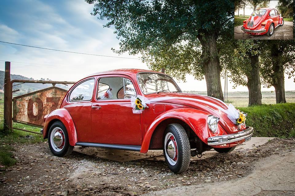 automobile per matrimonio, il maggiolone, rosso