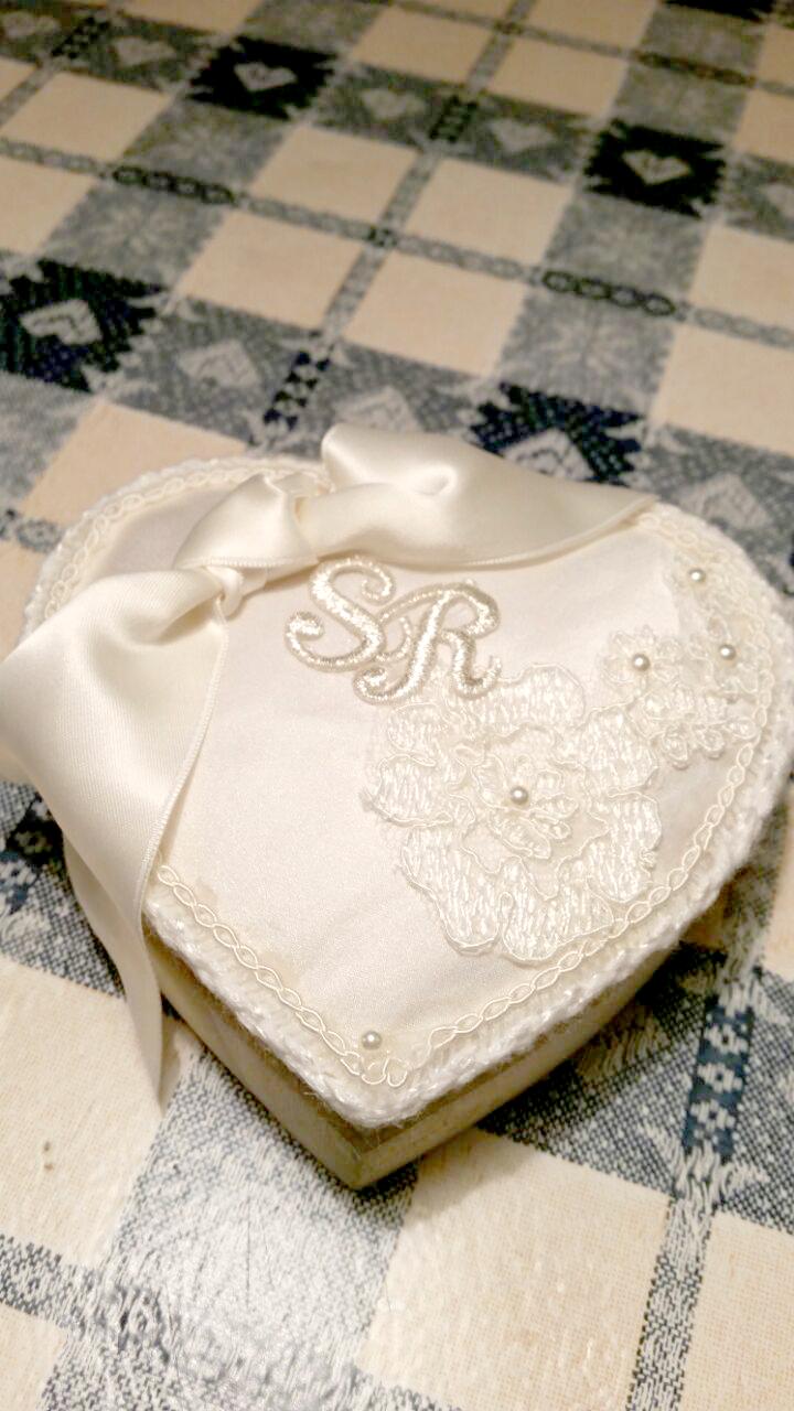 tutorial scatola portafedi di legno a forma di cuore