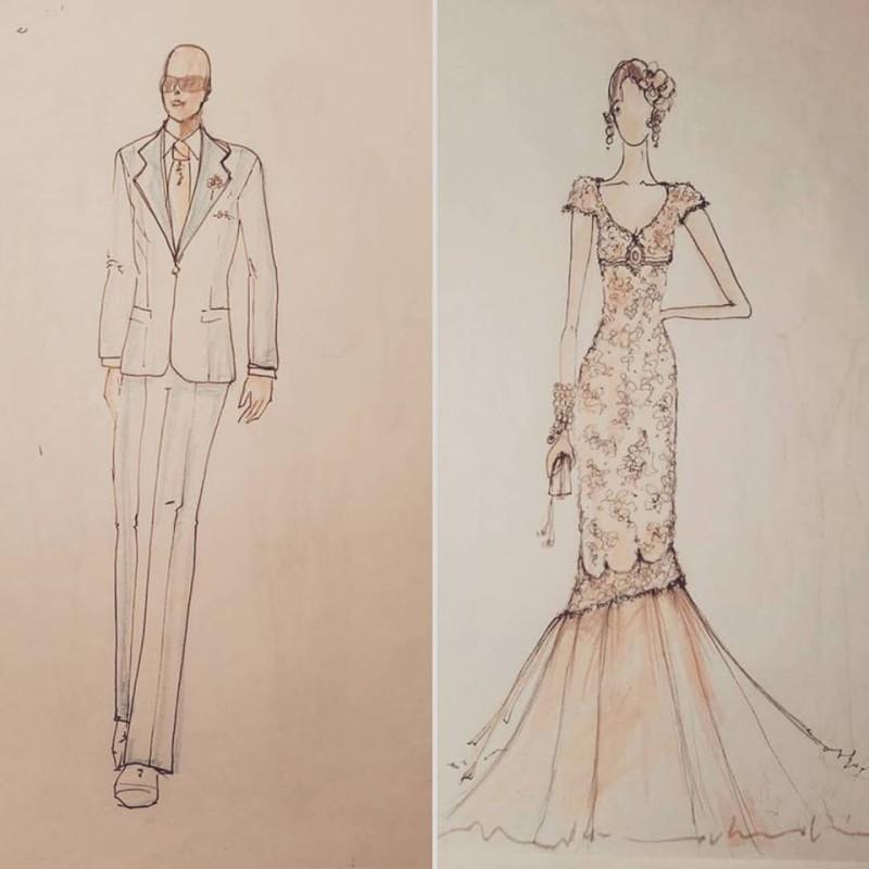 bozzetto abiti sposo e sposa vintage