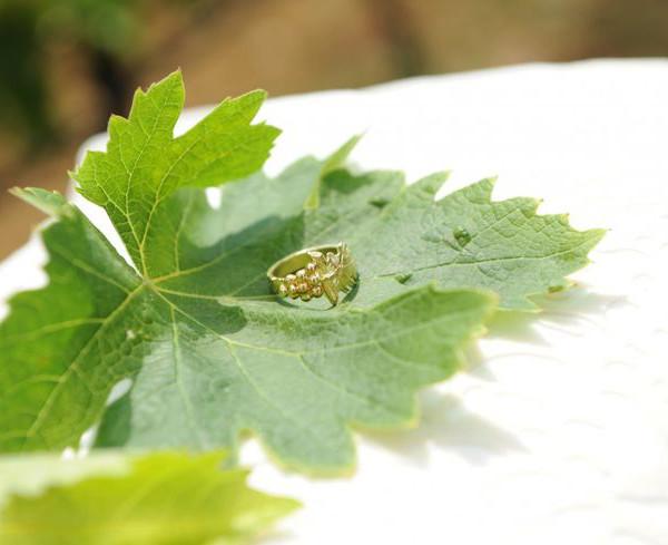 fedi nuziali particolari: anello in oro giallo tema vino a forma di grappolo d'uva