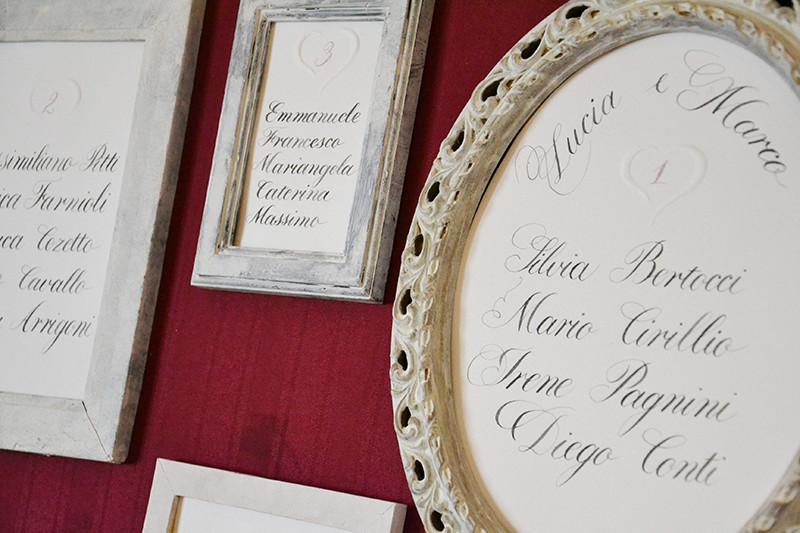 Pistoia wedding open day: tableau mariage con cornici Pro Arte