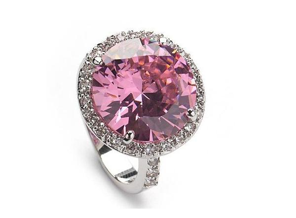 anello di fidanzamento in argento 925 placcato con zircone rosa: 36,00 euro