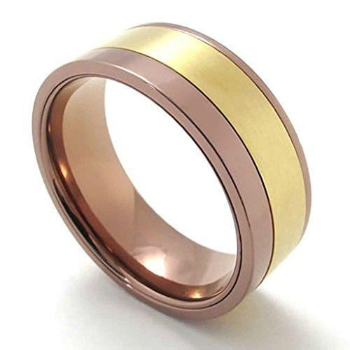 fedi nuziali prezzi low cost: vera bicolore in acciaio lucidato color rame e oro a 24,99 euro