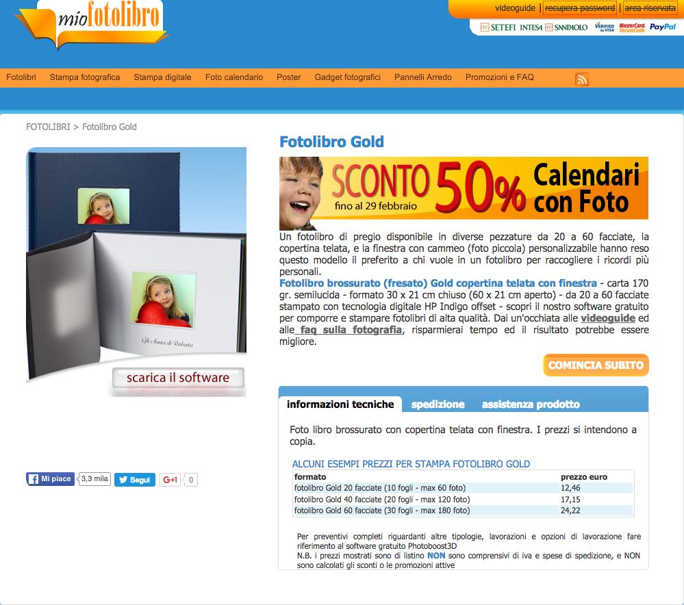 fotolibri online matrimonio: mioFotolibro.it gold orizzontale formato 30 x 21, con copertina telata e un massimo di 30 fogli