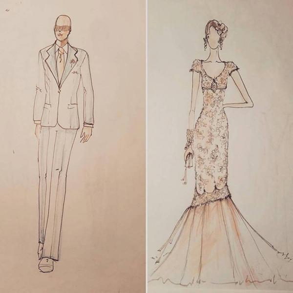 matrimonio con lo sponsor vintage in Toscana: disegni abiti degli sposi