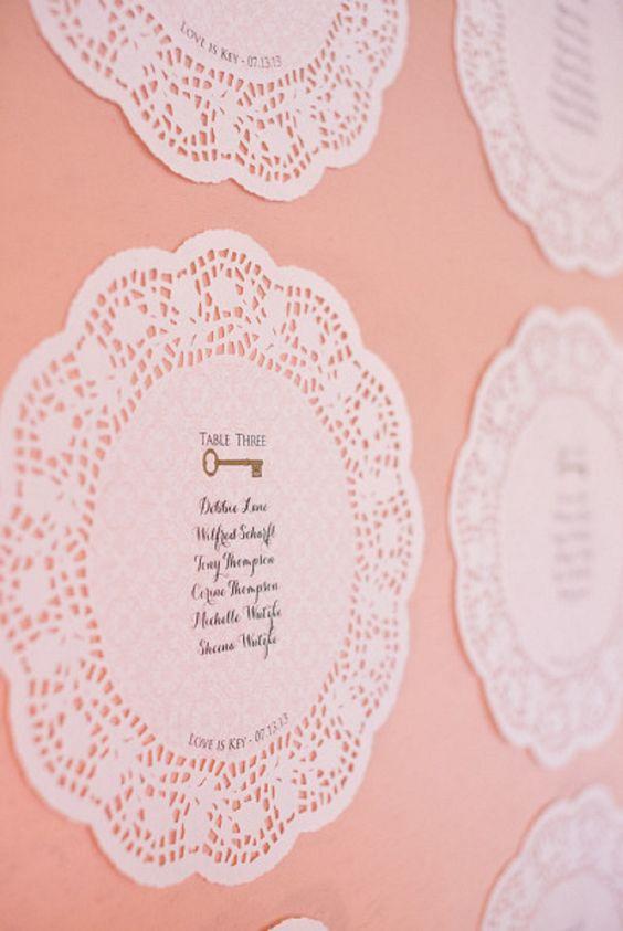 tableau de mariage con i centrini di carta