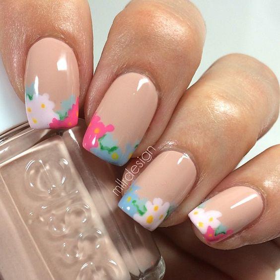 unghie gel nail art sposa con french fiorito