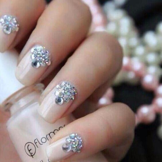 unghie gel nail art sposa gioiello