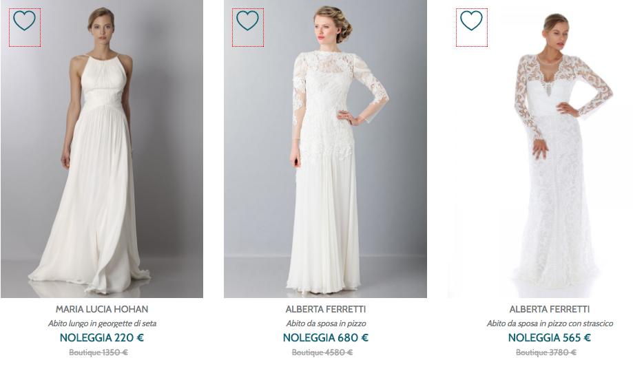 risparmiare sull'abito da sposa col noleggio