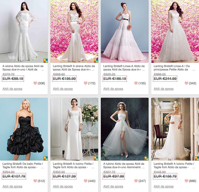 risparmiare sull'abito da sposa in Cina