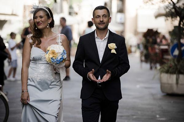 abito da sposa sirena azzurro fatto a mano e personalizzato
