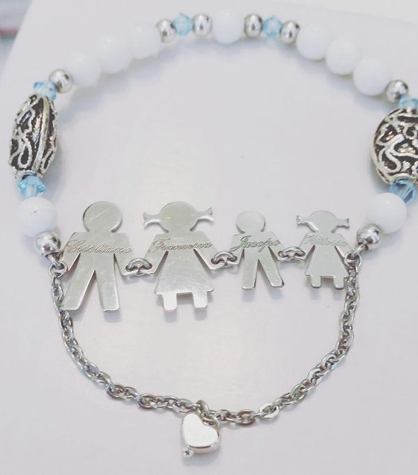braccialetto sposa personalizzato con i componenti della famiglia