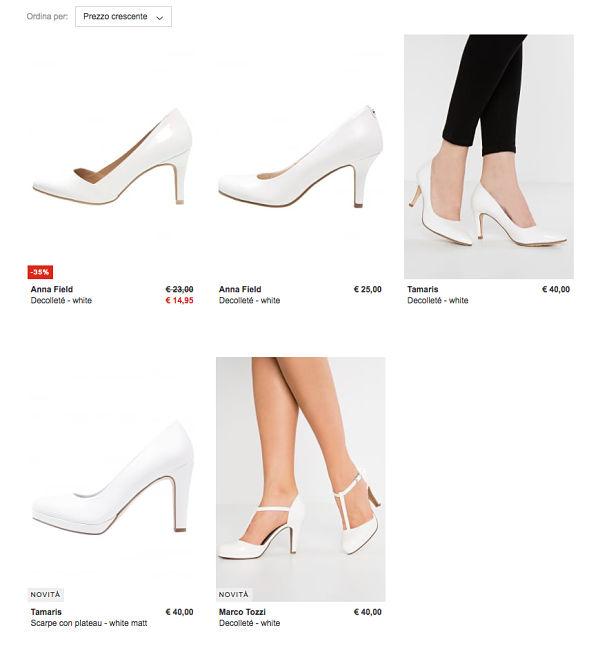 scarpe da sposa a meno di 50 euro su Zalando