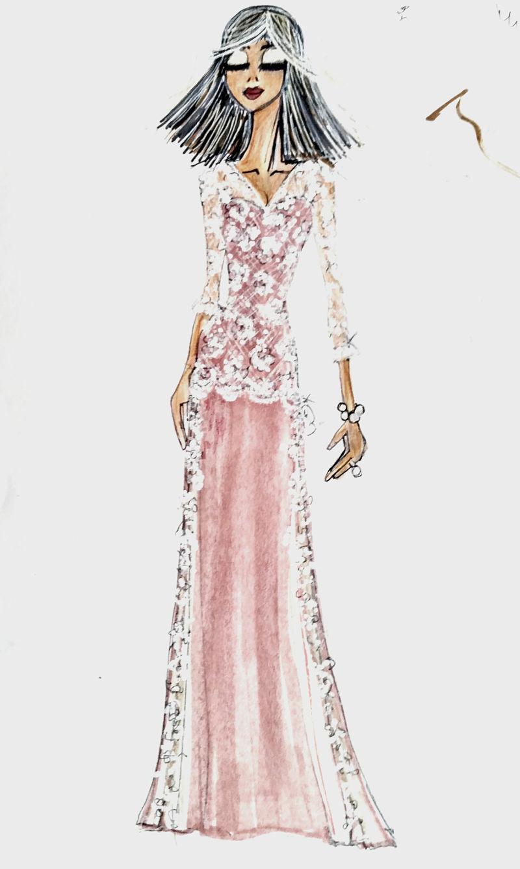 bozzetto abito da sposa rosa in pizzo a sirena