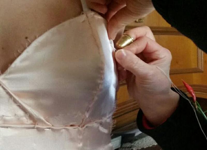 sottoveste su misura abito da sposa rosa