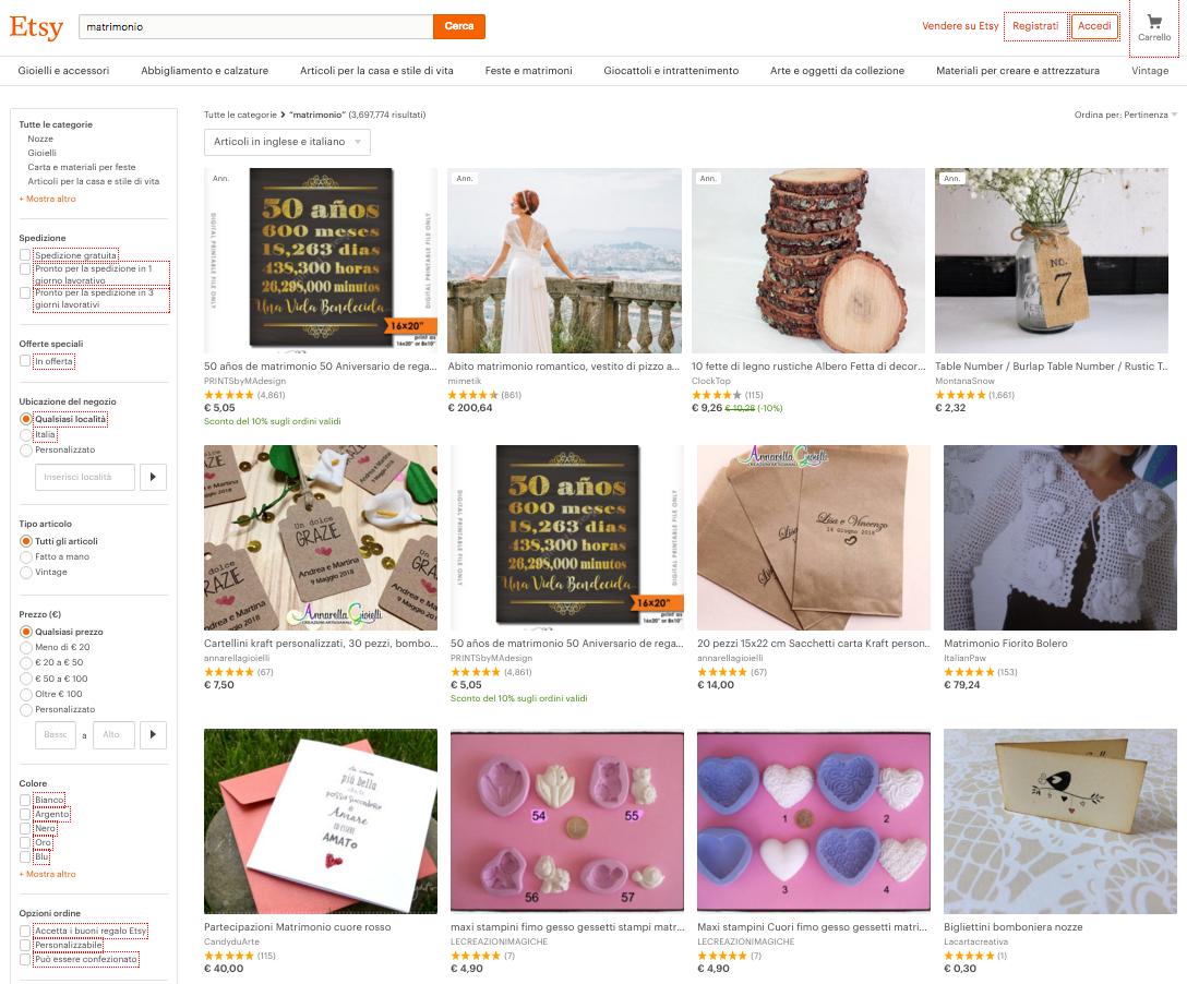 acquistare prodotti per il matrimonio su Etsy