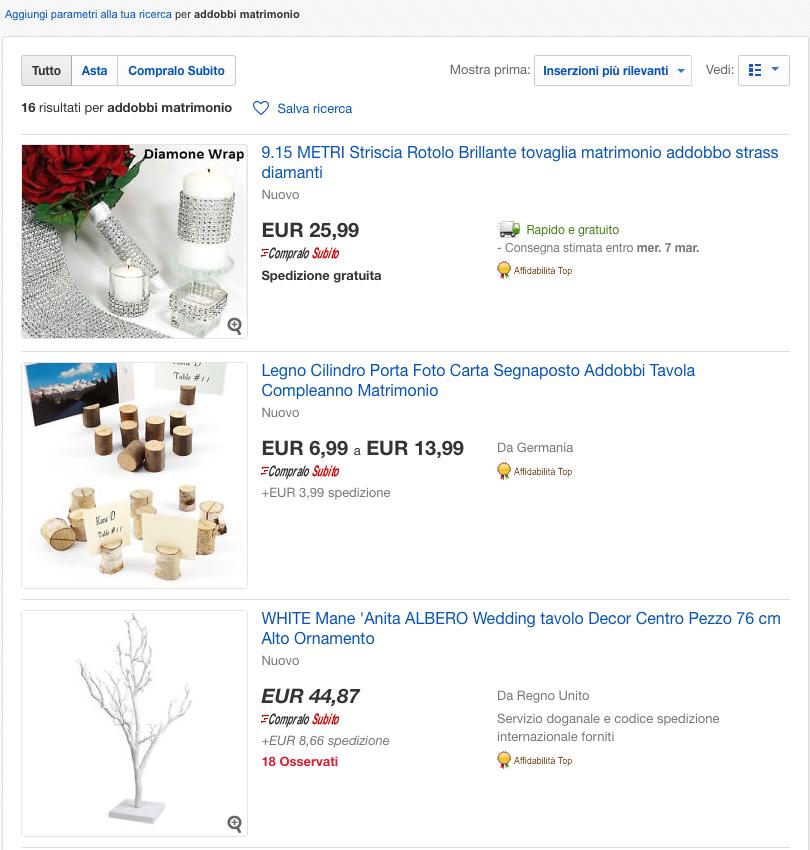 Acquistare prodotti per il matrimonio ebay