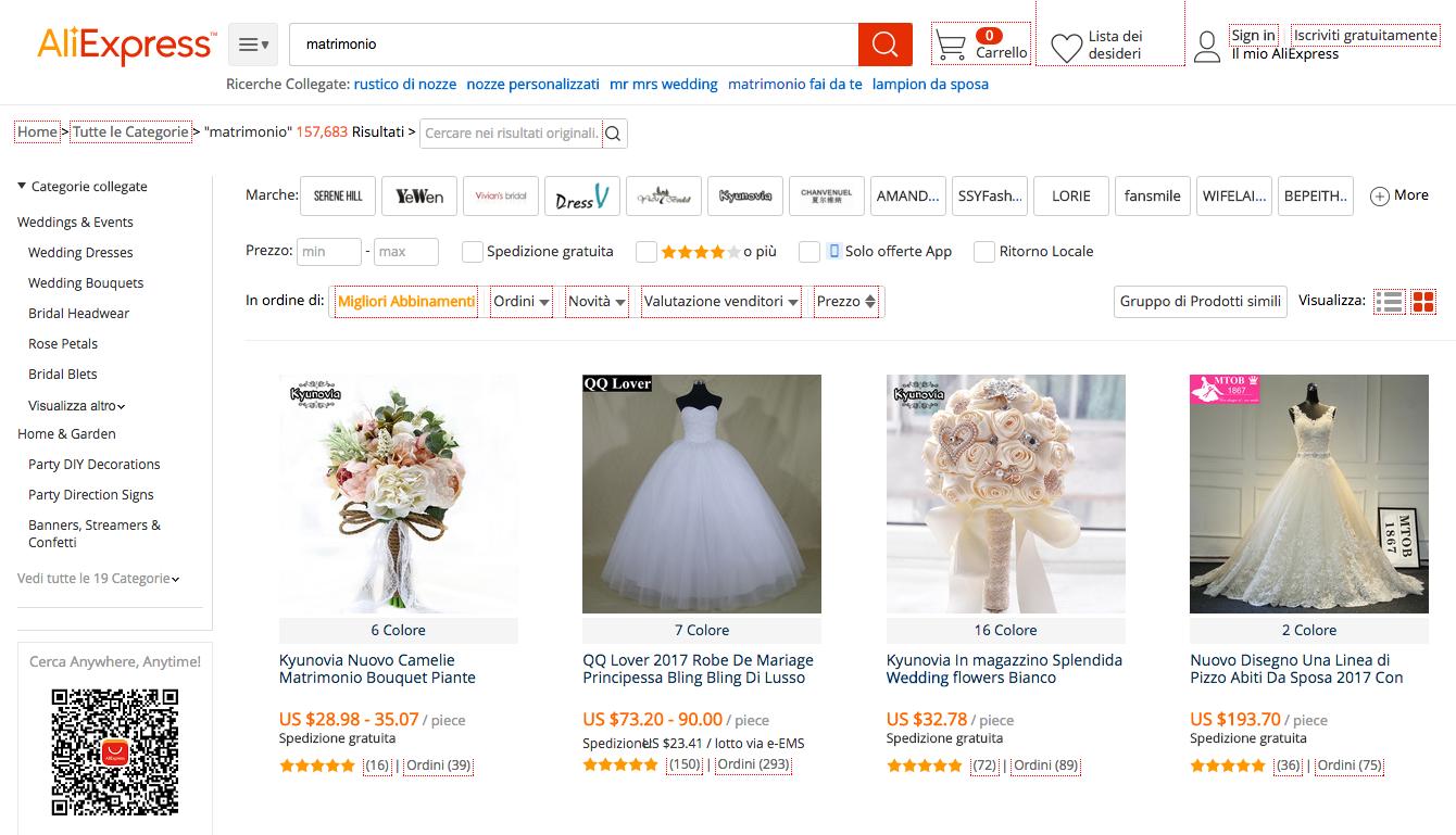 acquistare prodotti per il matrimonio su AliExpress