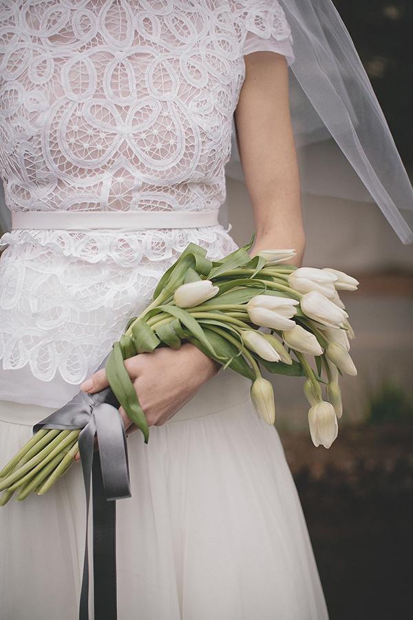 bouquet fascio con tulipani