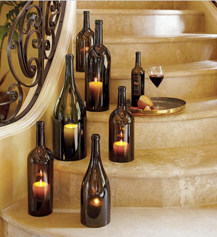 candele bottiglie di vino