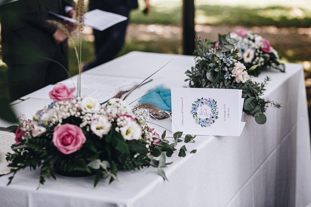 libretti cerimonia civile matrimonio bohemien fucsia e blu